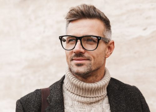 Handsome older man wearing glasses